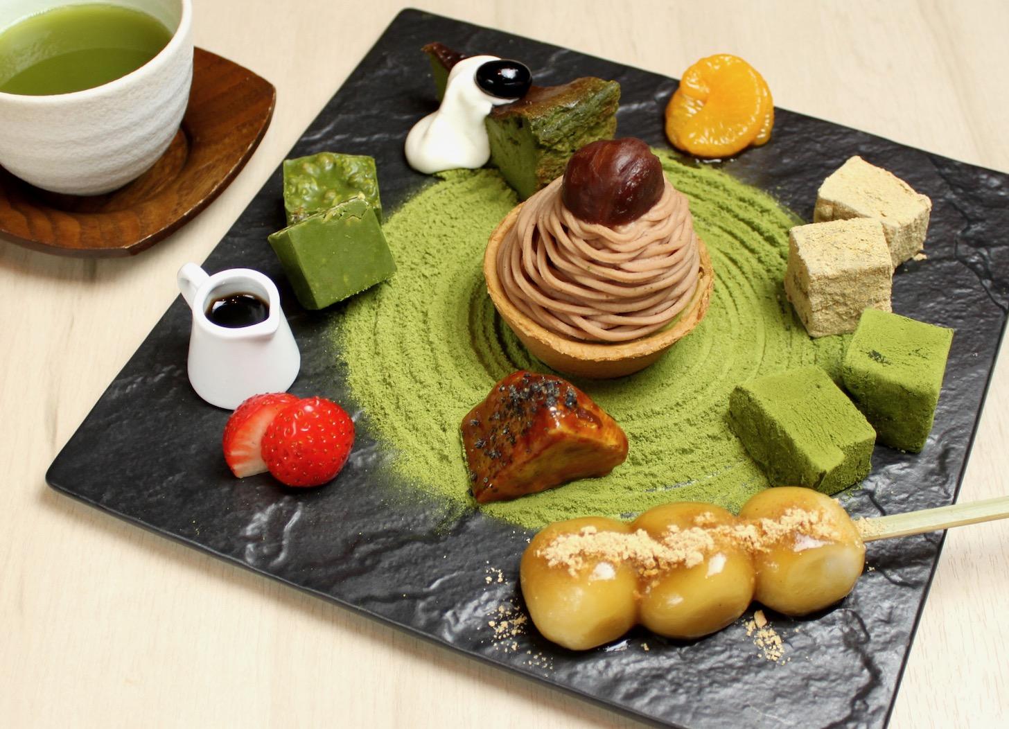 食べる日本庭園!禅庭の石庭をイメージ した抹茶づくしの『抹茶スイーツ盛り 合わせZEN』お抹茶付き¥1,950(税抜)